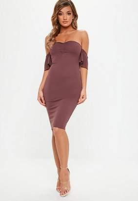 Missguided Burgundy Stretch Crepe Sweetheart Dress