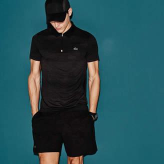 Lacoste Men's SPORT Tennis Zip Neck Mesh Back Tech Jersey Polo