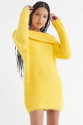 Urban Outfitters Fuzzy Off-The-Shoulder Sweater Dress