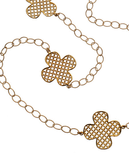 Jessica Elliot Gold Long Iron Clover 3-Way Necklace