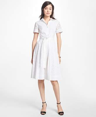 Brooks Brothers Petite Cotton Eyelet Shirt Dress