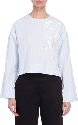 Cédric Charlier Striped Embroidered Blouse