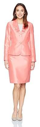 Le Suit Women's Shiny 2 Bttn Skirt Suit