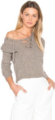BROWN ALLAN Lace Up Sweater $165 thestylecure.com