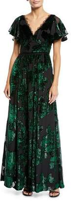 Marchesa V-Neck Velvet Burnout Lace-Trim Gown