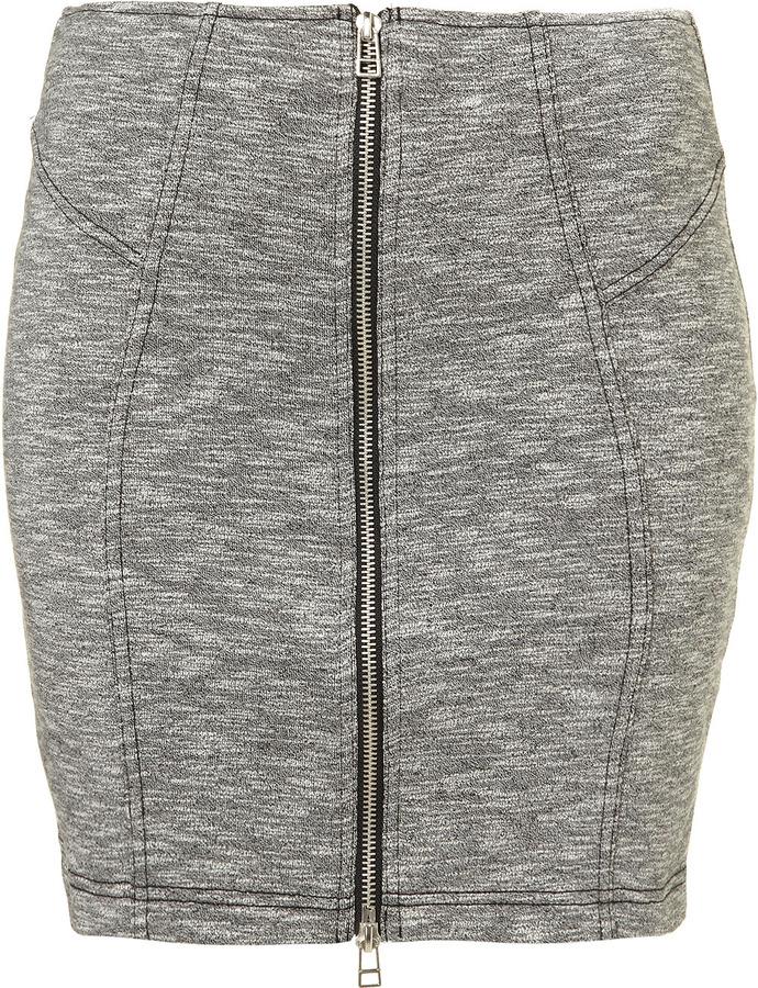 Zip Front Jersey Skirt
