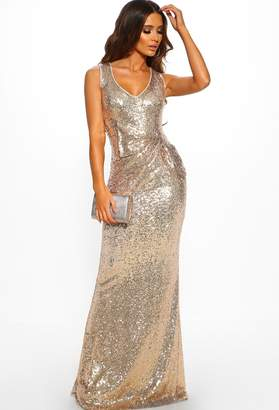 Pink Boutique Juliet Rose Gold Sequin Ruched Maxi Dress