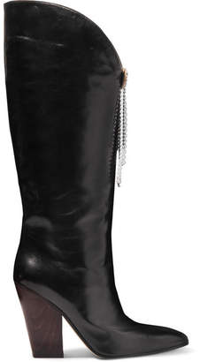 Magda Butrym Holland Embellished Leather Knee Boots - Black