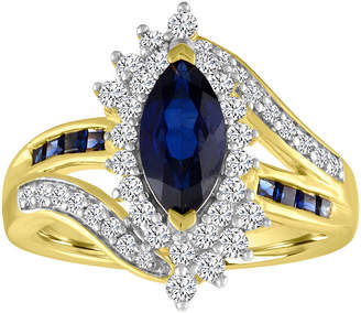FINE JEWELRY Womens Lab Created Blue Sapphire 14K Gold Over Silver Oval Cocktail Ring