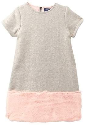 Andy & Evan Faux Fur Trim Shiny Brocade Dress (Toddler, Little Girls, & Big Girls)