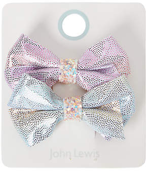 John Lewis Girls' Sparkly Unicorn Bow Hair Clips, Pack of 2, Pink/Blue
