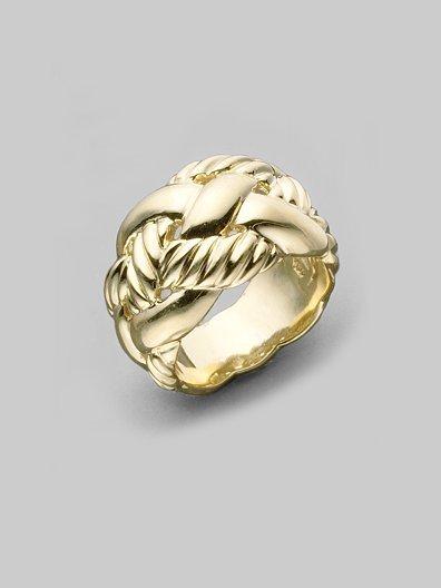 David Yurman 18K Yellow Gold Woven Cable Ring