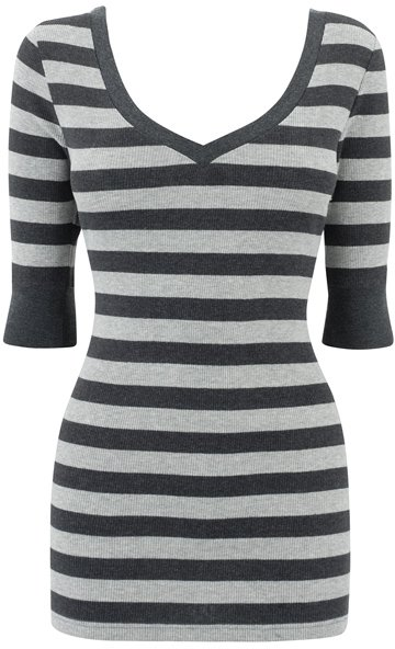 Grey Stripe V Neck Top