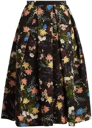 Erdem Ina Mariko floral matelassé skirt