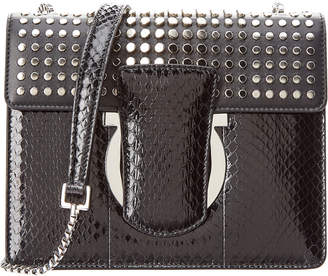 Salvatore Ferragamo Thalia Studded Snake Embossed Leather Shoulder Bag