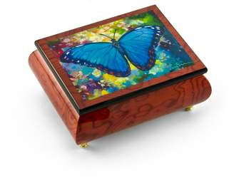 "Ercolano MusicBoxAttic Gorgeous Handcrafted Red-Wine Butterfly Music Box by Blue Morpho"" Simon Bull - Home on the Range"