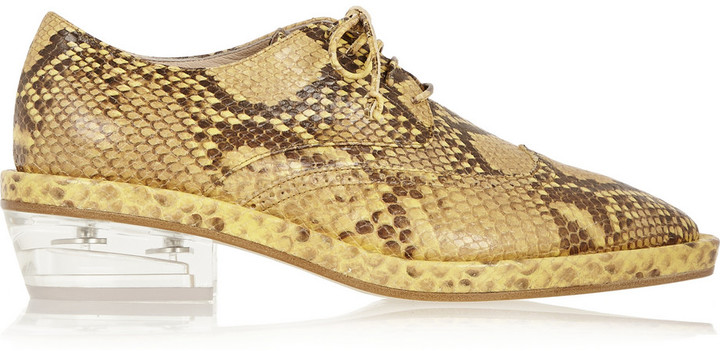 Simone Rocha Snake-effect leather brogues