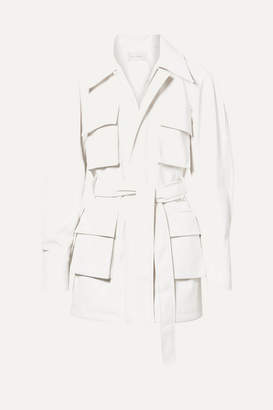 Low Classic Belted Faux Leather Jacket - White
