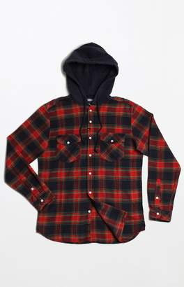Imperial Motion Greenwhich Hooded Flannel Long Sleeve Button Up Shirt