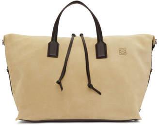 Loewe Beige Suede Weekender Duffle Bag