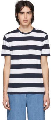 Sunspel Navy and White Bold Stripe Riviera T-Shirt