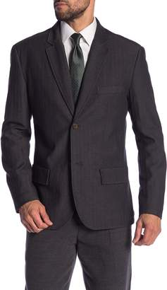Jachs Charcoal Herringbone Two Button Notch Lapel Classic Fit Stretch Blazer