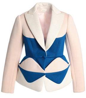 DELPOZO Color-Block Neoprene Peplum Blazer