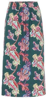 Tibi Paisley-printed cotton skirt