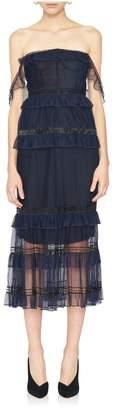 Jonathan Simkhai Tulle Plisse Strapless Bustier Dress