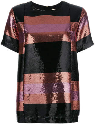 Odeeh sequined short-sleeved top