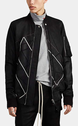 Rick Owens Men's Embroidered Leather Bomber Jacket - Black
