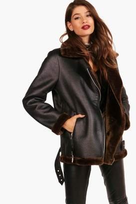boohoo Julia Boutique Faux Fur Lined Aviator