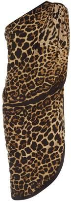 Saint Laurent Leopard Print One Shoulder Dress
