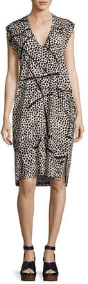 Zero Maria Cornejo Cap-Sleeve Dot-Print Silk Dress, Multi