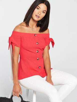Very Bardot Button Front Top - Coral