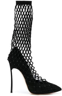 Casadei fishnet sock boots