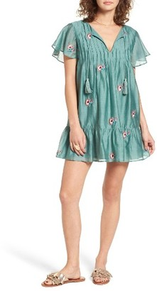 Women's Tularosa Carson Embroidered Cotton & Silk Dress $178 thestylecure.com