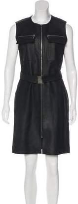 Pollini Leather Knee-Length Dress
