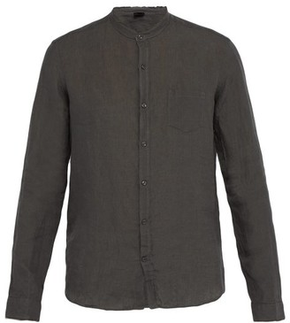 Once Milano - Raw Edge Mandarin Collar Linen Shirt - Mens - Dark Grey