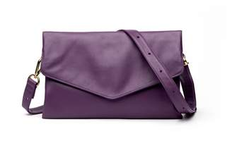 Holly & Tanager Explorer Leather Crossbody Clutch In Purple