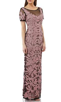 JS Collections Illusion Yoke Short Sleeve Soutache Gown