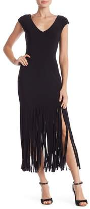 Bebe Cap Sleeve Fringe Dress