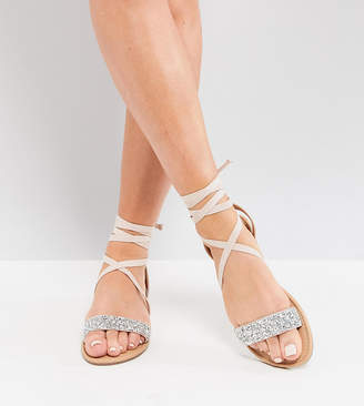 Asos Design DESIGN Wide Fit Fi embellished flat sandals