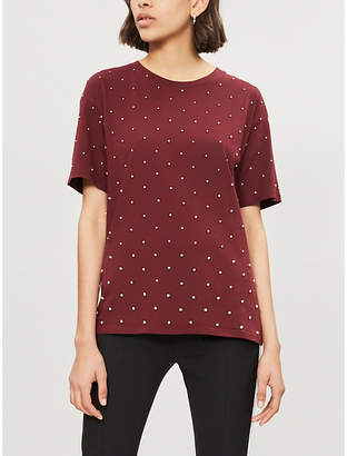 The Kooples Rhinestone-embellished cotton-jersey T-shirt