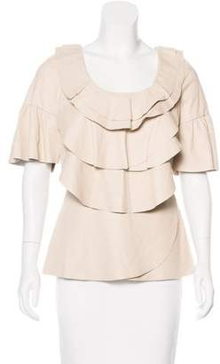 Oscar de la Renta Leather Short Sleeve Top