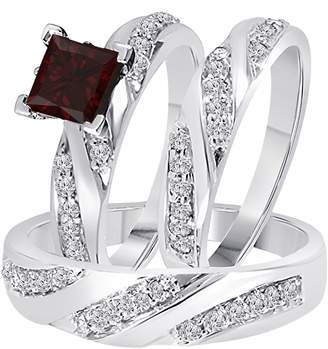 Express DreamJewels 2.00 Carat (Ctw) Synthetic Red Garnet Princess Cut & Round CZ Diamond 14k White Gold Over Engagement His & Her Wedding Engagement Trio Ring Set In Shipping