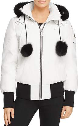 Moose Knuckles Debbie Fox Fur Trim Down Bomber Jacket