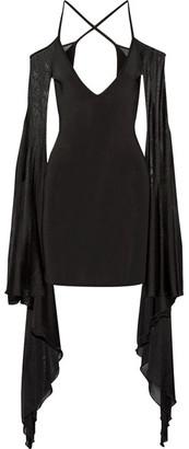 Balmain - Open-back Ruffled Stretch-knit Mini Dress - Black $2,230 thestylecure.com