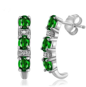 FINE JEWELRY Diamond Accent Green Chrome Diopside Sterling Silver Drop Earrings
