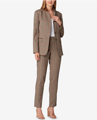Tahari ASL Plaid Notched-Lapel Pantsuit